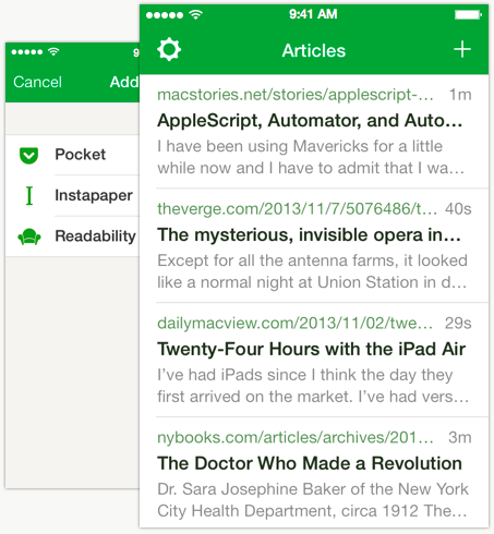 Pocket, Instapaper and Readability